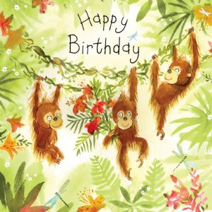 FIZ22 - Happy Birthday Card Orangutans